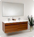 "57"" Teak Modern Double Bathroom Vanity with Faucet, Medicine Cabinet and Linen Side Cabinet Option"