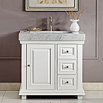36 inch Bathroom Vanity White Finish Integrated Carrara White Marble Ramp Sink