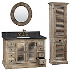 48 inch Single Sink Rustic Bathroom Vanity Dark Limestone Top