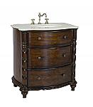 Adelina 31 inch Antique Bathroom Vanity White Marble Top