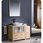 "42"" Light Oak Modern Bathroom Vanity Vessel Sink with Faucet and Linen Side Cabinet Option"