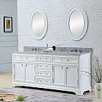 72 inch Traditional Double Sink Bathroom Vanity Marble Countertop