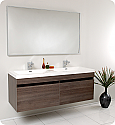 "Fresca Largo 57"" Gray Oak Modern Double Bathroom Vanity with Faucet, Medicine Cabinet and Linen Side Cabinet Option"
