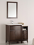 36 inch Antique Coffee Finish Traditional Bathroom Vanity with Mirror
