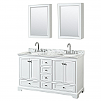 60 inch Double Sink Transitional White Finish Bathroom Vanity Set