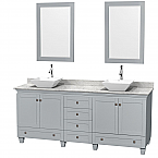 "Acclaim 80"" Double Bathroom Vanity in Oyster Gray with Countertop, Sinks, and Mirror Options"