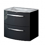 22 inch Modern Wall Mounted Bathroom Vanity Black Glossy Finish