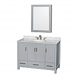 "Sheffield 48"" Single Bathroom Vanity in Gray with Countertop, Undermount Sink, and Mirror Options"
