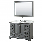 48 inch Transitional Dark Gray Finish Bathroom Vanity Set