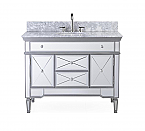 44 inch Adelina Mirrored Bathroom Vanity White Marble Top