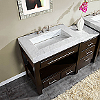 Accord Contemporary 56 inch Modular Bathroom Vanity White Carrara Marble Top