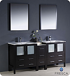 "72"" Modern Double Sink Bathroom Vanity with Color, Faucet and Linen Side Cabinet Option"