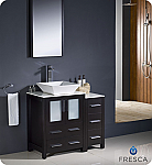 "36"" Espresso Modern Bathroom Vanity Vessel Sink with Faucet and Linen Side Cabinet Option"