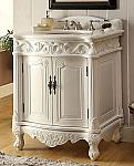 Adelina 27 inch Antique Bathroom Vanity White Finish