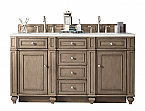 60 inch Double Sink Bathroom Vanity Whitewashed Walnut Finish