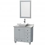Accmilan 36 inch Vessel Sink Bathroom Vanity Grey Finish, Marble Countertop