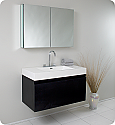 "Fresca Mezzo 39"" Black Modern Bathroom Vanity with Faucet, Medicine Cabinet and Linen Side Cabinet Option"