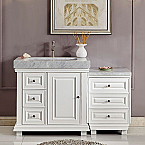 56 inch Bathroom Vanity White Finish Integrated Carrara Marble Sink