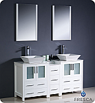 "60"" White Modern Double Sink Bathroom Vanity"