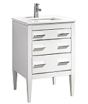 24 inch Contemporary Bathroom Vanity White Glossy Finish White Quartz Top