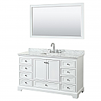 60 inch Transitional White Finish Bathroom Vanity Set