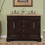 Accord Antique 48 inch Double Sink Bathroom Vanity Travertine Countertop