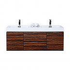 60 inch Wall Mount Double Sink Modern Bathroom Vanity Walnut Finish