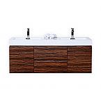 """Modern Lux 60"""" Double Sink Walnut Wall Mount Modern Bathroom Vanity"""