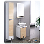 "Adour 16"" Light Walnut Modern Bathroom Vanity with Mirror"