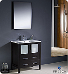 "30"" Espresso Modern Bathroom Vanity with Faucet and Linen Side Cabinet Option"