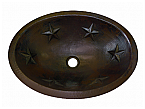 Soci Copper Oval Star Sink Chocolate Finish, Finest Handmade