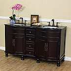 Antique 62 inch Double Sink Bathroom Vanity Black Granite Counter Top