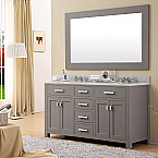 Daston 60 inch Gray Double Sink Bathroom Vanity White Marble Top with Linen Cabinet