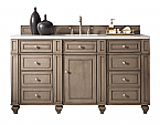 James Martin, 60 inch Single Sink Bathroom Vanity Whitewashed Walnut Finish