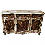 Alba Antique 67 inch Vanity with Italian 4 cm Cream Galala Beige Marble Sink Bathroom Vanity