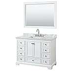 48 inch Transitional White Finish Bathroom Vanity Set