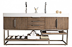 72 inch Double Bathroom Vanity Latte Oak Finish with Integrated Sink Top