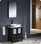 "Fresca Torino 24"" Espresso Modern Bathroom Vanity Vessel Sink with Faucet and Linen Side Cabinet Option"