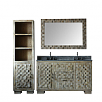 60 inch Distressed Wood Double Sink Bathroom Vanity