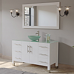 "48"" Solid Wood Glass Vessel Sink Bathroom Vanity Set White Finish with a Polished Chrome"