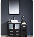"42"" Espresso Modern Bathroom Vanity Vessel Sink with Faucet and Linen Side Cabinet Option"