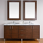 Abstron 72 inch Walnut Finish Bathroom Vanity Stone Countertop Options