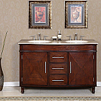 Accord Antique 55 inch Double Sink Bathroom Vanity Roman Vein-Cut Countertop