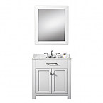 Daston White 30 inch Single Sink Bathroom Vanity Marble Countertop