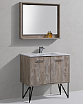 "Modern Lux 36"" Nature Wood Bathroom Vanity w/ Quartz Countertop and Matching Mirror"
