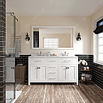 """60"""" Cabinet Only in White with Countertop, Faucet and Mirror Options"""