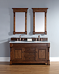 60 inch Country Oak Double Bathroom Vanity Optional Countertops