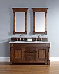 60 inch Country Oak Double Bathroom Vanity Optional Countertops