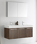 "Fresca Vista 48"" Walnut Wall Hung Double Modern Bathroom Vanity with Faucet, Medicine Cabinet and Linen Side Cabinet Option"