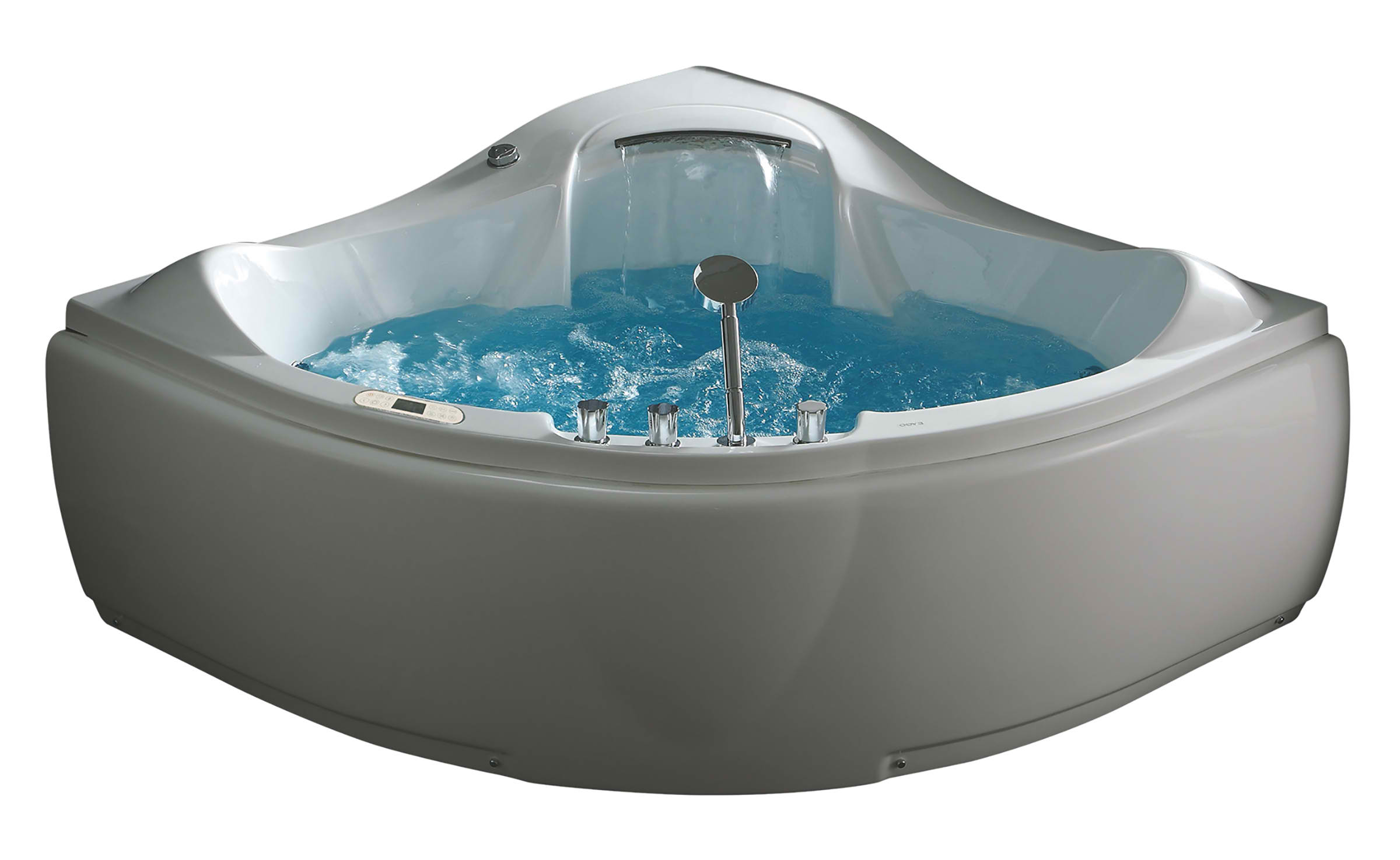 EAGO AM208ETL 5 ft Corner Acrylic White Waterfall Whirlpool Bathtub for Two